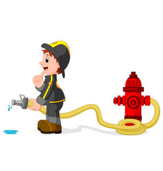 Fireman holding a yellow water hose vector