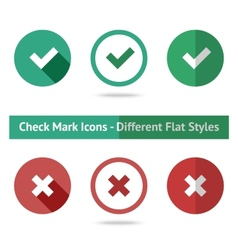 Flat check marks set Different kinds of flat vector image