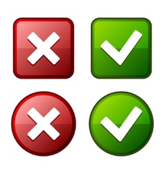 Glossy check mark stickers and buttons red green vector