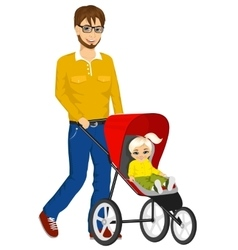 Handsome single father pushing stroller vector