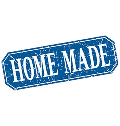 Home made blue square vintage grunge isolated sign vector