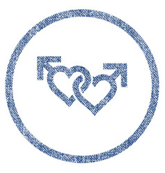 Linked gay hearts rounded fabric textured icon vector