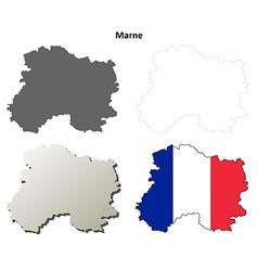Marne Champagne-Ardenne outline map set vector image vector image