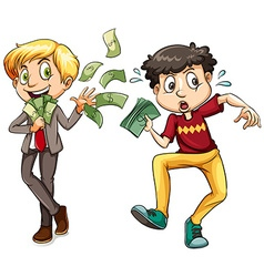 Men with lots of money and little money vector