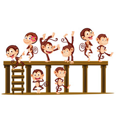 Monkeys playing on the wooden level vector