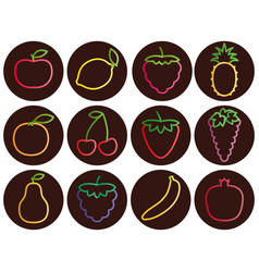 Outline fruit and berries icons with gradient set vector
