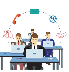 People working in a call center vector