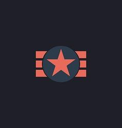 ribbon star computer symbol vector image vector image