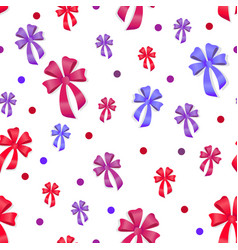 seamless pattern with bows gift kknots of ribbon vector image vector image