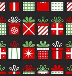 seamless pattern with gift boxes christmas vector image