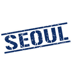 Seoul blue square stamp vector