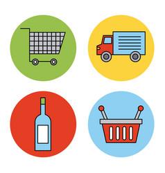 set or design elements relating to supermarket vector image vector image