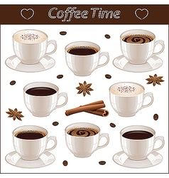 Set with different coffee cups vector image vector image