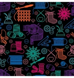 Sewing and needlework seamless pattern vector image