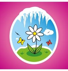 Spring flower in frame vector