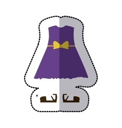 Sticker color silhouette with girl clothing pijama vector