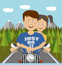 Teenager couple riding a motocycle outdoor vector