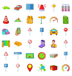 Vehicle icons set cartoon style vector