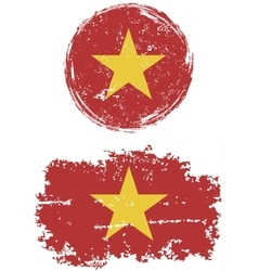 Vietnamese round and square grunge flags vector