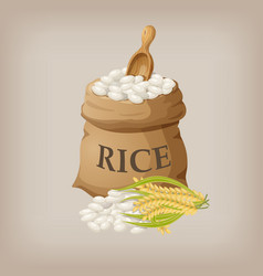 White rice in small burlap sack vector