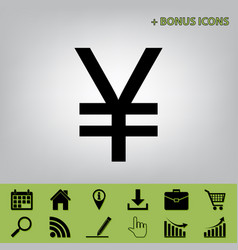 Yen sign black icon at gray background vector