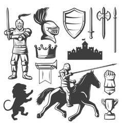 Knights monochrome elements set vector