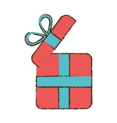 Drawing pink gift box wrap ribbon vector