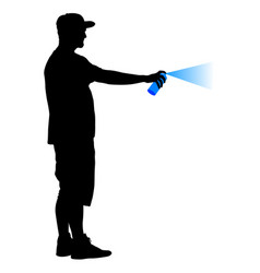 Silhouette man holding a spray on a white vector