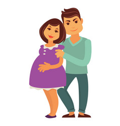 young family expecting child pregnant woman and vector image