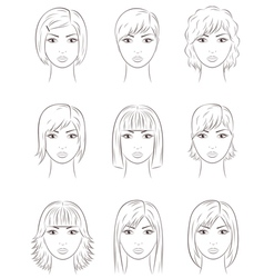 Women s faces vector