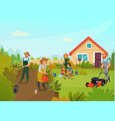 Gardening cartoon composition vector