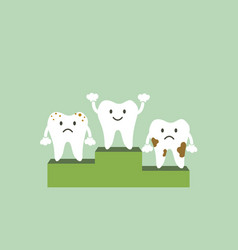 healthy tooth is winner on podium vector image