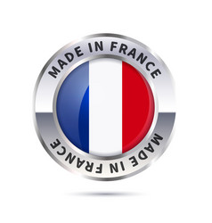 Metal badge icon made in france with flag vector