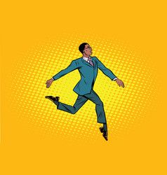 African businessman runs forward elegantly vector