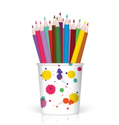 Colored pencils in plastic container vector