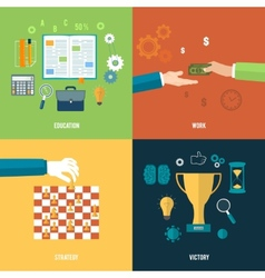 Icons for education work strategy victory vector image