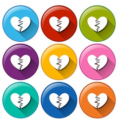 Round buttons with broken hearts vector