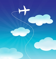 Airplane flying on the blue sky vector