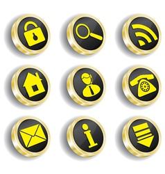 Golden web icon set vector