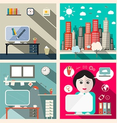 Creative education room flat design with sec vector