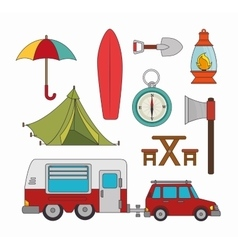Camping vacation and travel vector