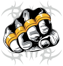 brass knuckle fist vector image