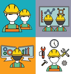 Engineer construction manufacturing workers set vector