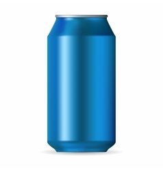 Realistic blue aluminum can vector