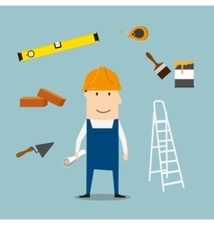 Builder or engineer with tools and equipment vector