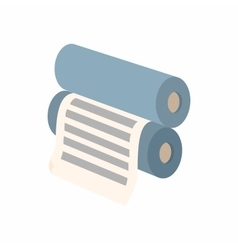 Two rollers with a paper between them icon vector