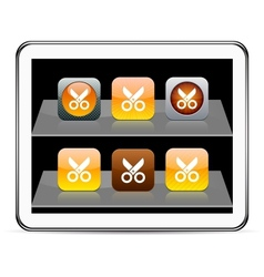 Scissors orange app icons vector