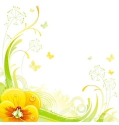Floral summer background with yellow violet flower vector