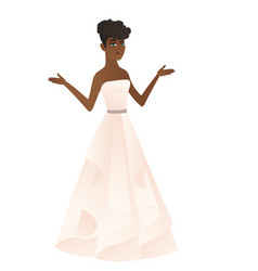 African-american confused fiancee with spread arms vector