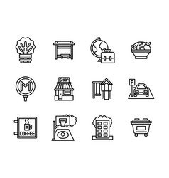 Areas of city black line icons set vector
